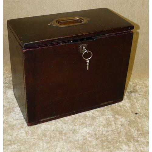 638 - A Wooden and Red Leather Rectangular Travelling Writing Box having centre carrying handle, hinged li...