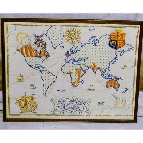 642 - A Needlework Map dated 1937, in oak frame, 39cm x 50cm...