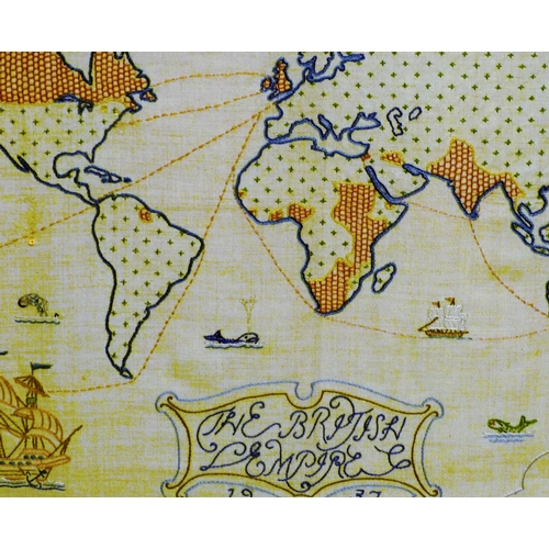 642 - A Needlework Map dated 1937, in oak frame, 39cm x 50cm...