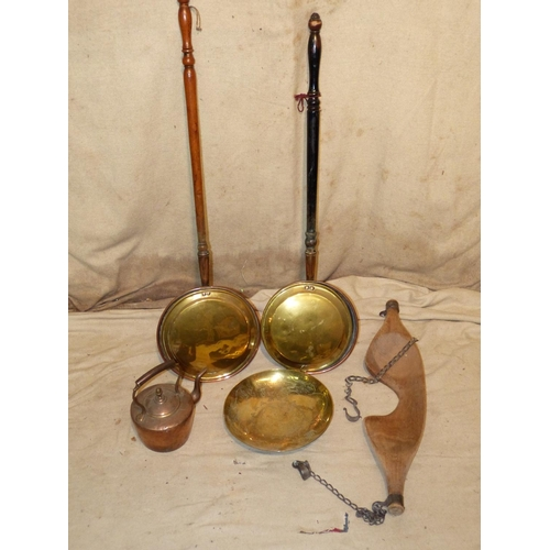 649 - 2 Copper and Brass Warming Pans having turned wooden handles, a copper kettle having fixed overhead ...