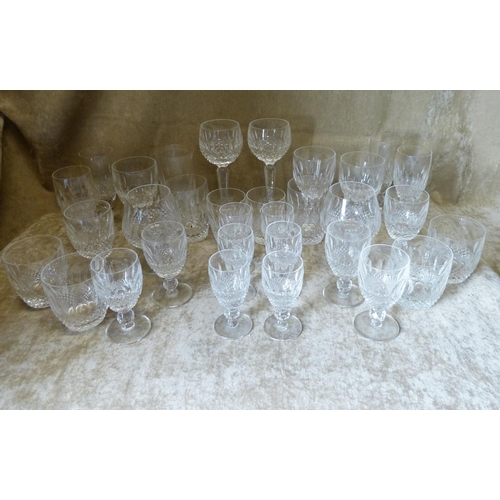 65 - A Set of 6 Waterford Small Drinking Glasses having thumb pattern and tooth cut decoration, 4 x match...