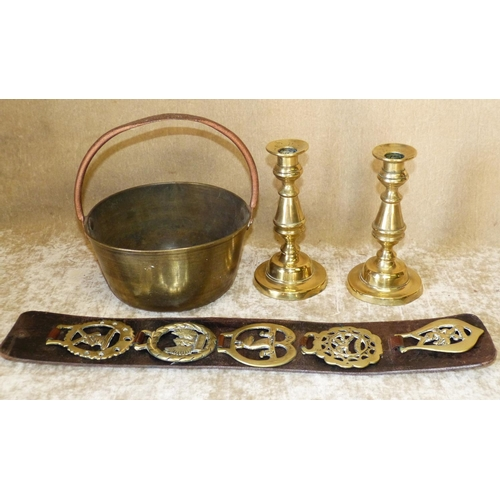 652 - A Pair of Brass Candlesticks on turned stems with round sweeping bases, a preserving pan having fixe...