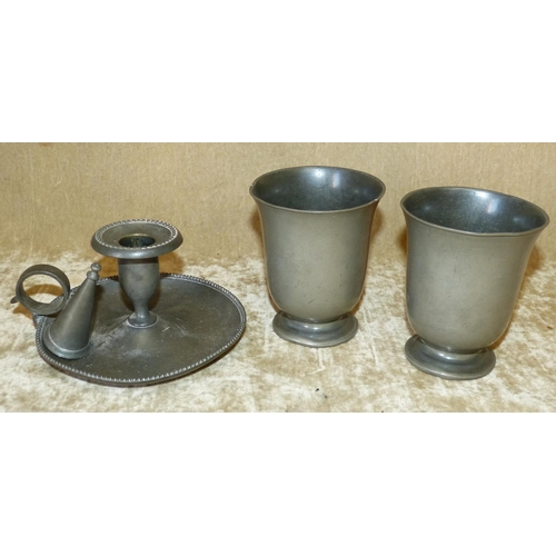 653 - A Pewter Chamber Candlestick with snuffer, also 2 Pewter round trumpet shape beakers (4)...