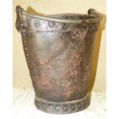 656 - An Early Leather Oval Trumpet Shape Bucket depicting ship motif (in need of restoration) having swin...