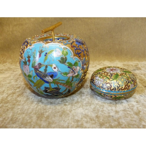 664 - A Cloisonné Bulbous Shape Pot in form of an apple with cover  having multicoloured bird, floral and ...