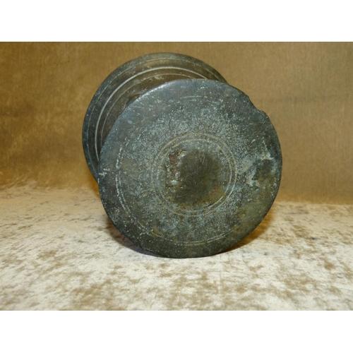 665 - An Antique Bronze Round Trumpet Shape Mortar, 13cm high...