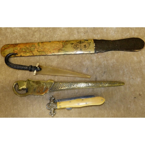 666 - A Bone Handled Lock Knife (blade shortened) a horn paper knife and 2 other paper knives (4)...