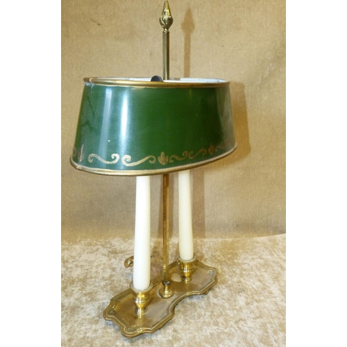 668 - A Brass Double Chamber Candlestick having telescopic adjustable green shade, 41cm high...