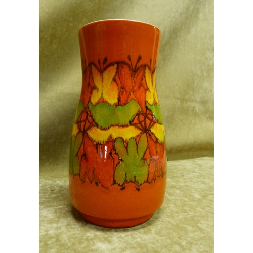 67 - A Poole Bulbous Thin Necked Vase on vibrant orange ground with coloured butterfly and floral decorat...