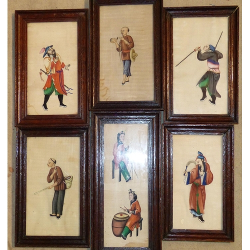 670 - 6 Oriental Rice Pictures depicting various figures in oak frames, largest 22cm x 11.5cm...