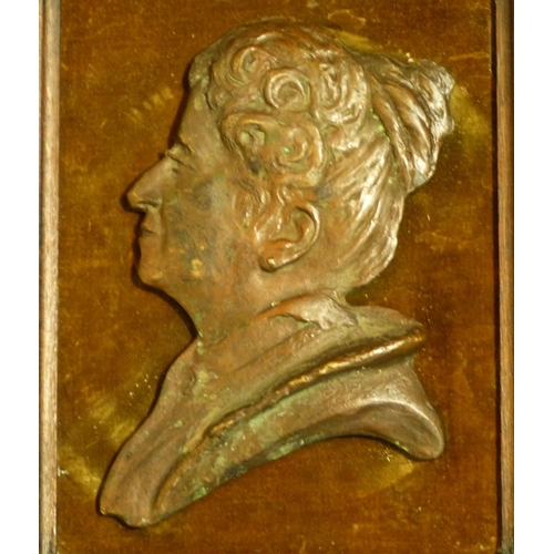 671 - A Bronze Relief Bust of a Lady, frame 28cm x 23.5cm overall...