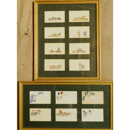 672 - A Set of 14 Hand Painted Business Cards depicting Oriental figures etc, mounted in 2 frames each car...