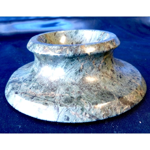 678 - A Green Marble Salt on round sweeping base, 14cm diameter...