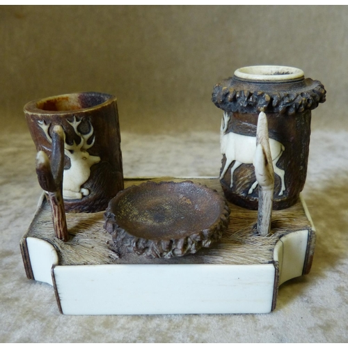 684 - A 19th Century Ivory and Horn Austrian Style Inkwell on rectangular base (1 inkwell top missing and ...