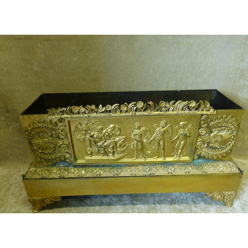 688 - A 19th Century Ormolu Rectangular Jardinière having embossed and raised classical figure shell, flor...