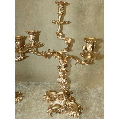 691 - A Pair of Later Gilt Painted 19th 3-Light 3-Branch Candelabra's having all over raised leaf, branch ...