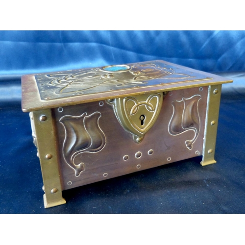 693 - McVitie and Price Brass and Copper Arts and Crafts Style Casket having hinged lid with turquoise mou...