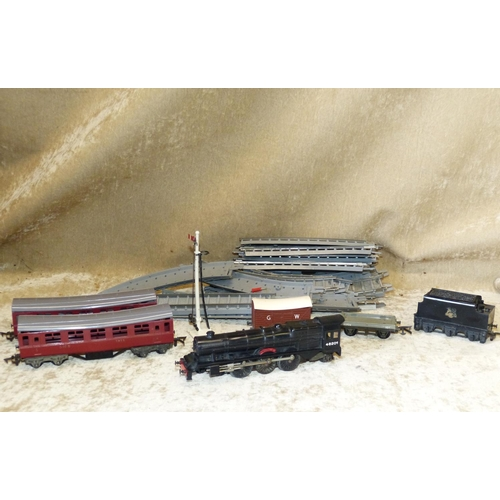 694 - A Child's Train Set Comprising Princess Elizabeth Engine with Tender, 2 carriages, track etc...