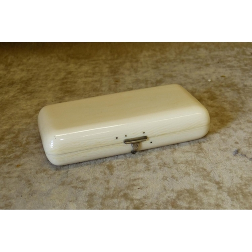 695 - A 19th/20th Ivory Rectangular Cigar Box having hinged lid, 13.5cm wide...