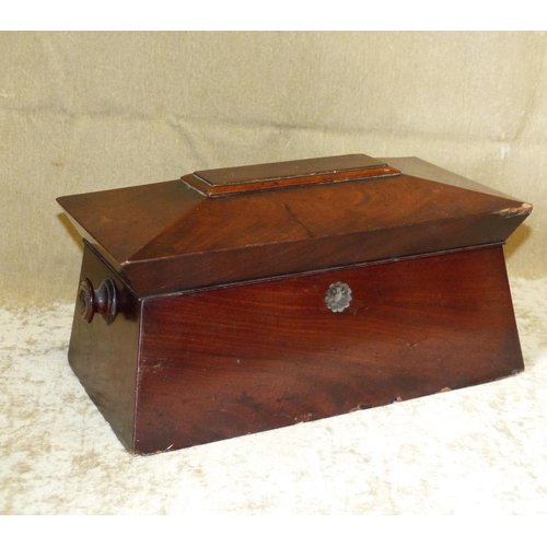 696 - A 19th Century Mahogany Sarcophagus Shaped Tea Caddy having hinged lid enclosing 2 lidded compartmen...