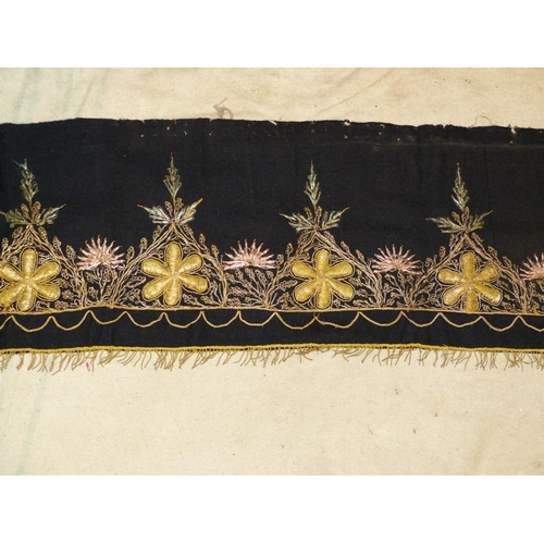 703 - A Gold Thread Panel having floral and leaf decoration, 2m 54cm long x 29cm...