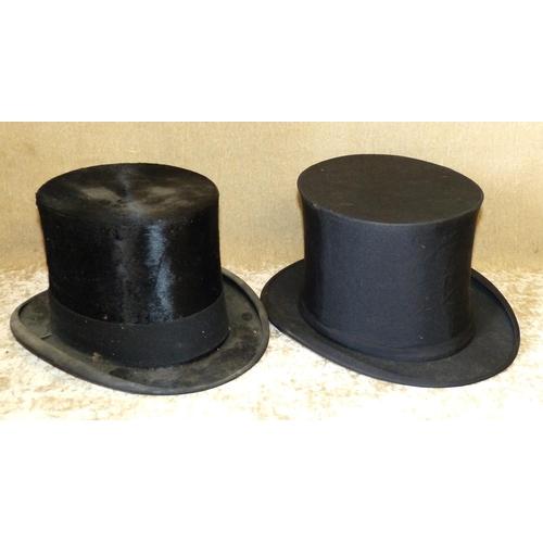 706 - Dunlap & Co Silk Top Hat inner measurement 19.5cm, 16.5cm also a Dunn & Co theatrical folding top ha...