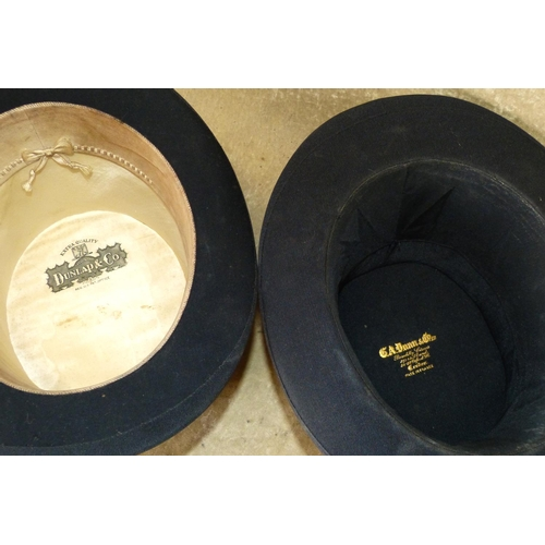 706 - Dunlap & Co Silk Top Hat inner measurement 19.5cm, 16.5cm also a Dunn & Co theatrical folding top ha...