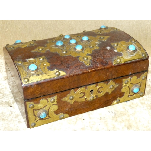 708 - A 19th Century Burr Walnut Arch Top Sewing Box having raised gilt metal and turquoise and carbuncle ...
