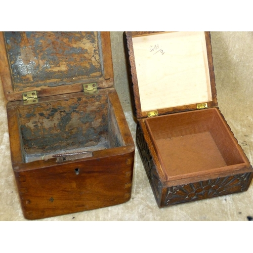 709 - A 19th Century Mahogany Square Tea Caddy having hinged lid, 11.5cm high, also a smaller square carve...