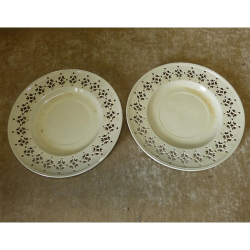 71 - A Pair of Creamware Round Plates having pierced rims, 22cm diameter...