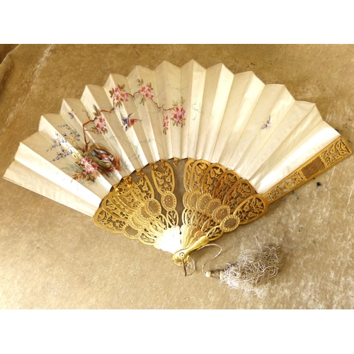 712 - A Painted Silk Fan with pierced carved wooden slats depicting birds nest, insect and floral decorati...
