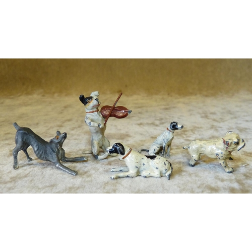 720 - A Cold Painted Metal Figure of a Dog playing a Violin and 4 other similar miniature metal figures of...