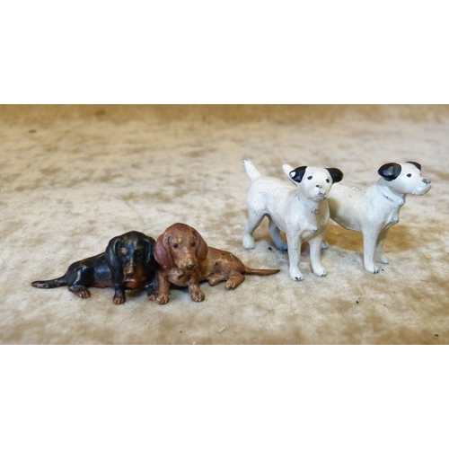 722 - 2 Miniatures Cold Painted Metal Figures Pairs of Dogs (2)...
