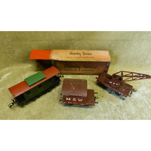 736 - A Hornby O'Gauge Caboose, Boxed a similar crane and wagon (3)...
