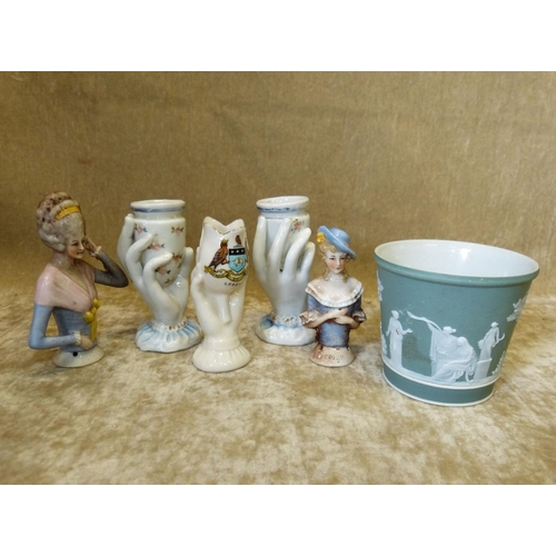 75 - A Pair of Small Vases in form of hands 9cm high, 2 china headed pin cushion dolls (no faces) a Wedgw...