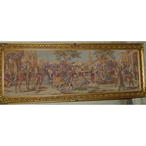 767 - A Machine Made Tapestry depicting continental figures dancing in square with further figures looking...