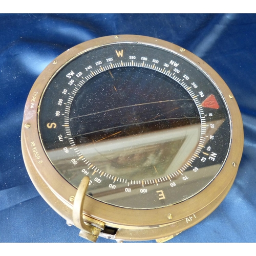 793 - A Navel Type P 4 Brass and Metal Ships Compass, 19cm diameter...