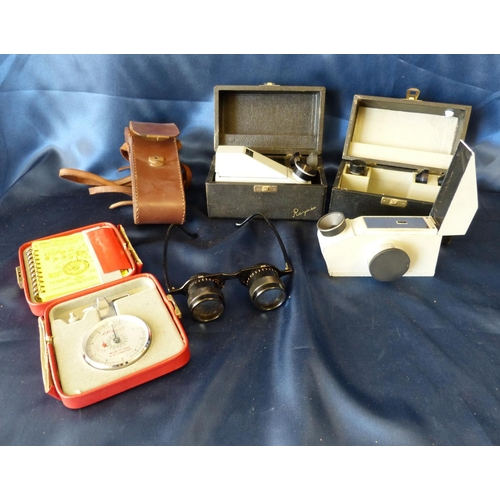 794 - AD Leveridge Millimeter Gauge, cased, 2 refractometers and a pair of optical binocular glasses, case...