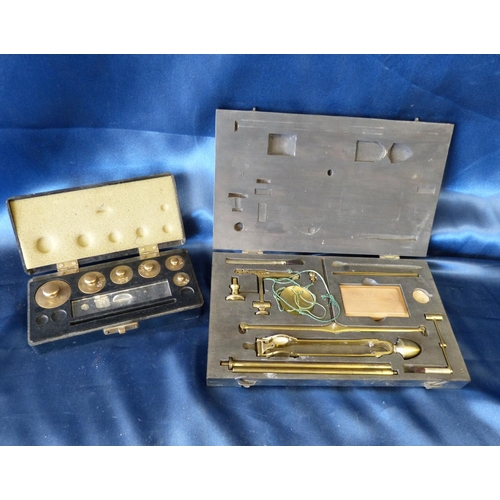 795 - A Set of Brass Collapsible Balance Scales, cased, also a set of cased graduated weights...