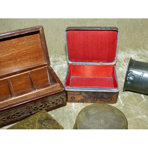 802 - A 19th Century Pewter Measure, a leather rectangular shape stamp box and 4 other boxes etc (6)...