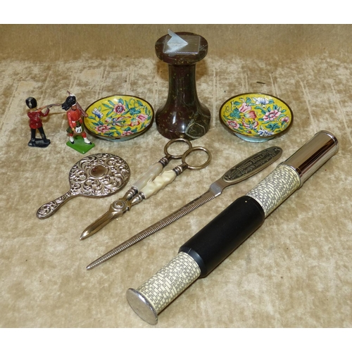 804 - A Small Stone Sundial, a pair of Cloisonné small round dishes, a pair of grape scissors, a miniature...