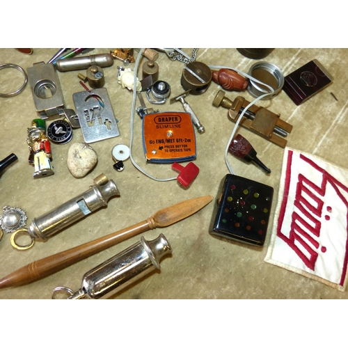 805 - 2 Whistles, a cigar holder and a quantity of various other items...