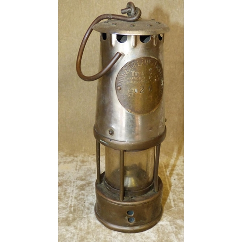 807 - A Brass Miners Lamp, 25cm high...