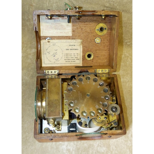 815 - A Benzing Oak Pigeon Timer having Arabic numerals C.1924, 21.5cm wide...