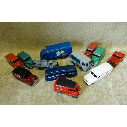 821 - 12 Diecast 1950's Dinky Commercial Vehicles