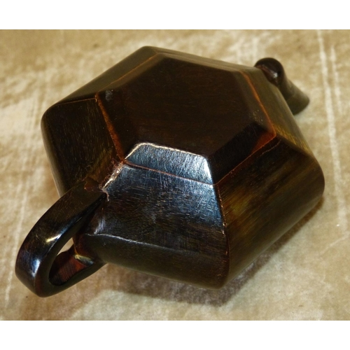 829 - A Horn Oriental Hexagonal Shape Small Teapot, 15cm long overall...