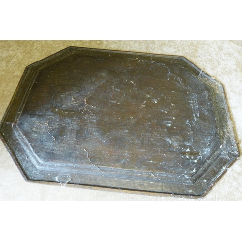 833 - An Eastern Brass Rectangular Shaped Tray having chamfer corners with engraved Elephant God figure fl...