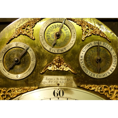 837 - James.B Banks, Runcorn Large Carved Oak Westminster Chime on Bells 8 Day Striking Longcase Clock hav...