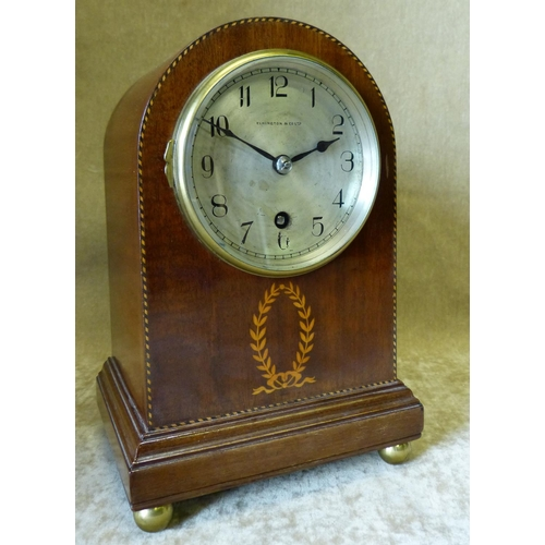839 - Elkington & Co Ltd Edwardian Mahogany Arched Top Timepiece having inlaid ribbon, leaf and boxing dec...