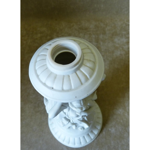 84 - A Parian Lamp Base in form of The Three Graces on round sweeping base, 31cm high...